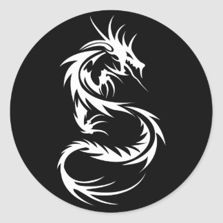White Dragon Round Sticker