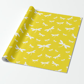 White Dragonflies Pattern on Yellow Background
