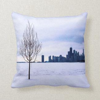White dream - winter in Chicago, cotton pillows
