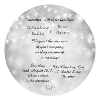 White, dreamy Wedding invitation with lights
