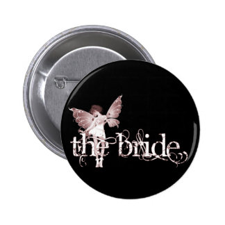 White Dress Fairy Red - The Bride Pinback Buttons