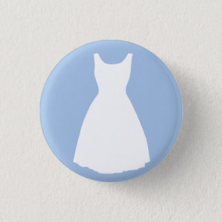 White Dress on Light Blue Button