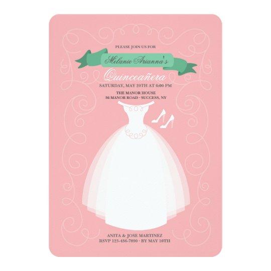 White Dress Quinceañera Invitation