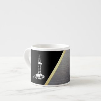 White Drilling Rig Silhouette on Black and Metal