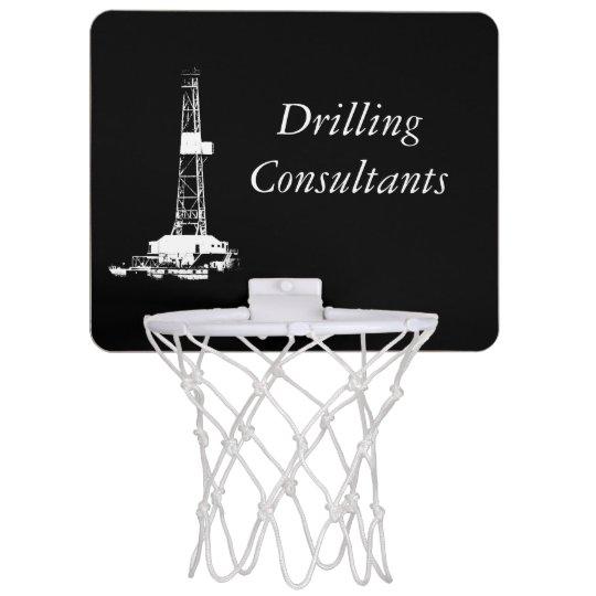 White Drilling Rig Silhouette on Black Background Mini Basketball Backboard