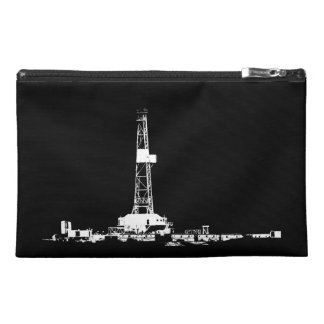 White Drilling Rig Silhouette on Black Background Travel Accessories Bag