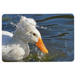 White Duck And Water Droplets Floor Mat
