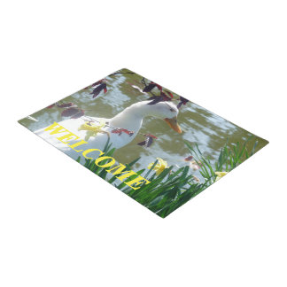 White Duck In Daffodils Welcome Doormat