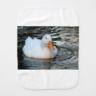 White Duck swimming in a creek Burp Cloth