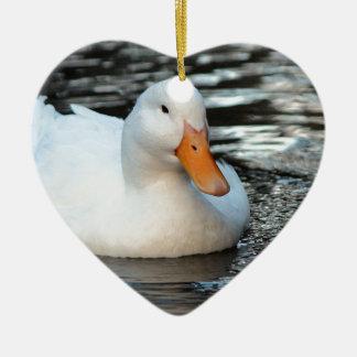 White Duck swimming in a creek Ceramic Heart Ornament