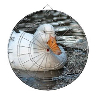 White Duck swimming in a creek Dartboard