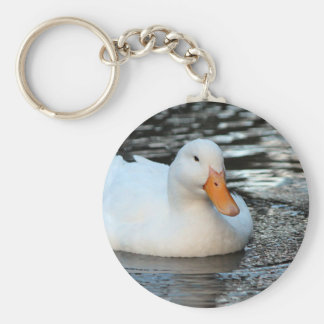 White Duck swimming in a creek Keychain