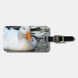 White Duck swimming in a creek Luggage Tag