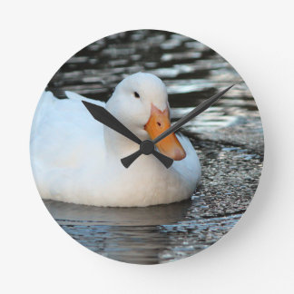 White Duck swimming in a creek Round Clock