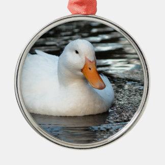 White Duck swimming in a creek Silver-Colored Round Ornament