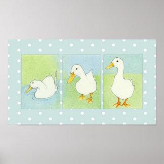White Ducks Dots Poster