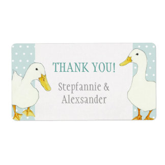 White Ducks dots Wedding Thank You Sticker
