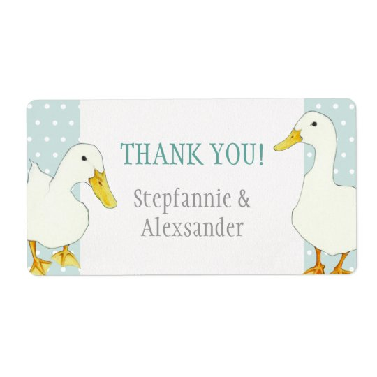 White Ducks dots Wedding Thank You Sticker Shipping Label