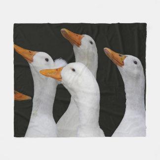 White Ducks Photo Fleece Blanket