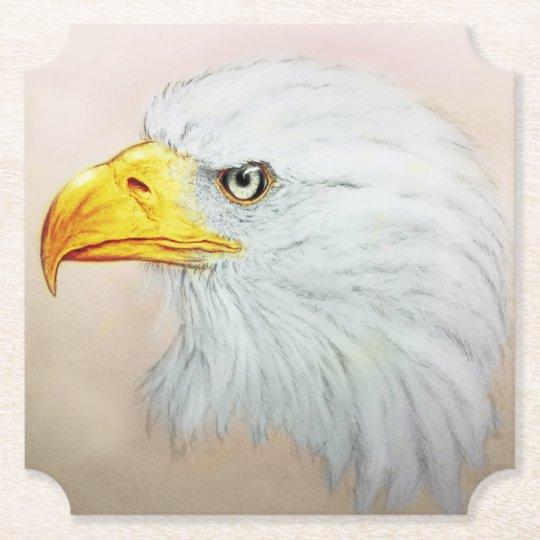 White Eagle Shaped Coaster, Realistic Bird Sketch Paper Coaster
