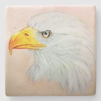 White Eagle Stone Coaster, Realistic Bird Sketch Stone Coaster