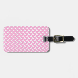White Easter Bunnies on Pink Bag Tag