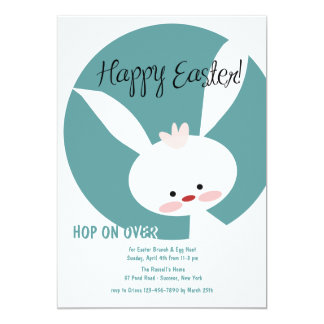 White Easter Bunny Invitation
