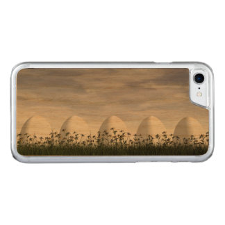 White easter eggs in nature - 3D render Carved iPhone 8/7 Case