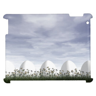 White easter eggs in nature - 3D render iPad Case