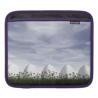 White easter eggs in nature - 3D render iPad Sleeve