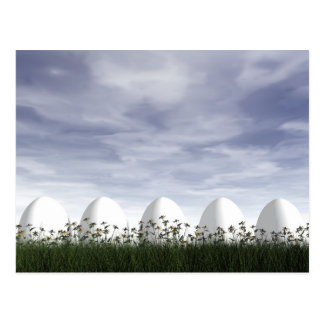 White easter eggs in nature - 3D render Postcard