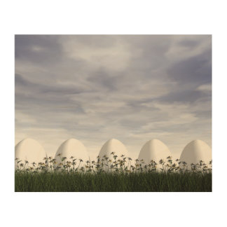 White easter eggs in nature - 3D render Wood Wall Art