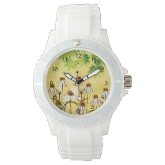 White Echinacea flowers Watch
