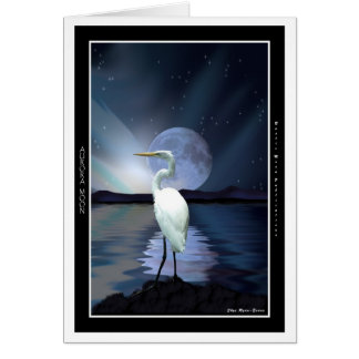 White Egret, Aurora & Moon Greeting-cards Card
