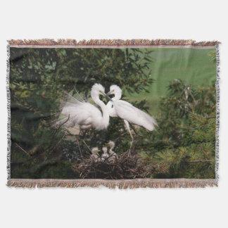 White Egret Family Throw Blanket