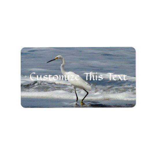 White Egret Fishing Label