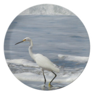 White Egret Fishing Party Plate