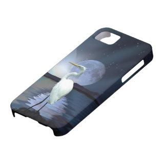 White Egret & Moon Fantasy Wildlife Art Phone Case