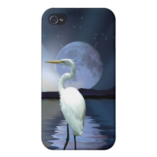 White Egret & Moon Wildlife iPhone Cases Covers For iPhone 4