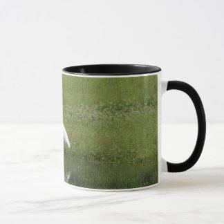 White egret mug