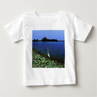 White Egret On Rocky Shore Line Baby T-Shirt