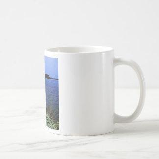 White Egret On Rocky Shore Line Coffee Mug