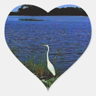 White Egret On Rocky Shore Line Heart Sticker