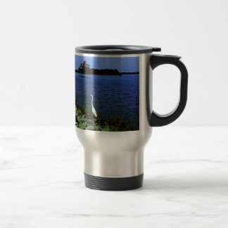 White Egret On Rocky Shore Line Travel Mug