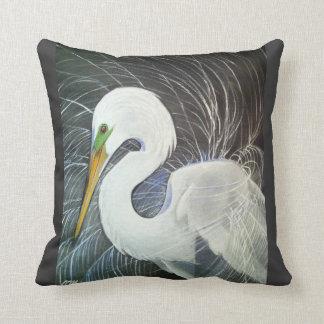 White Egret Pillow
