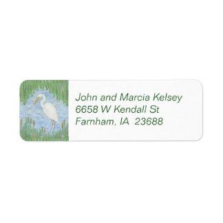 White Egret return address label
