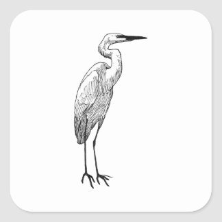 White Egret Square Sticker