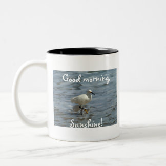 White Egret Strutting Two-Tone Coffee Mug