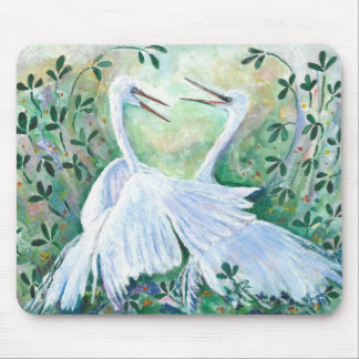 White Egrets - Mouse pad