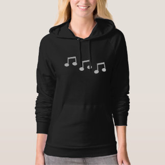 White Eighth Notes on Black Background Hoodie